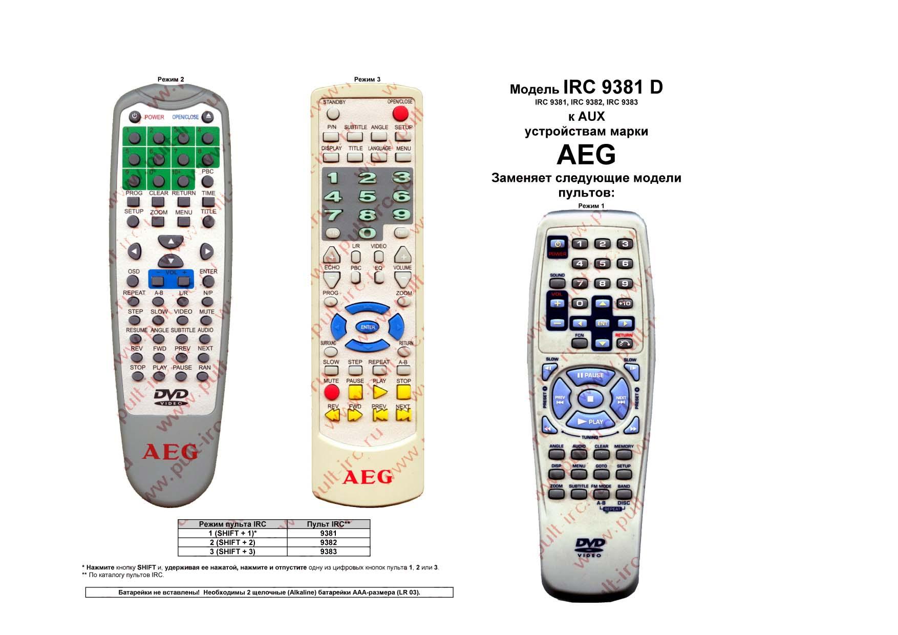 Купить пульт ду AEG IRC-9381D (ПДУ)