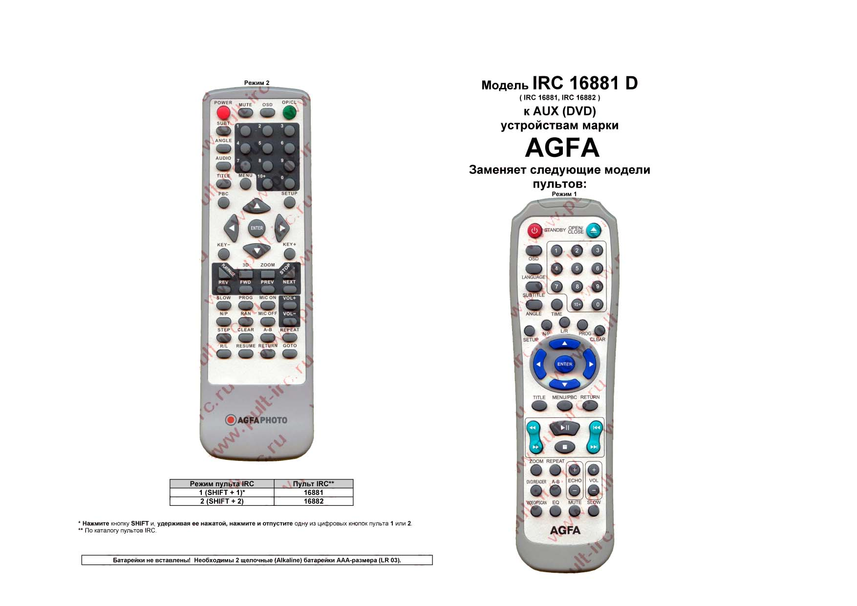 Купить пульт ду AGFA IRC-16881D (ПДУ)